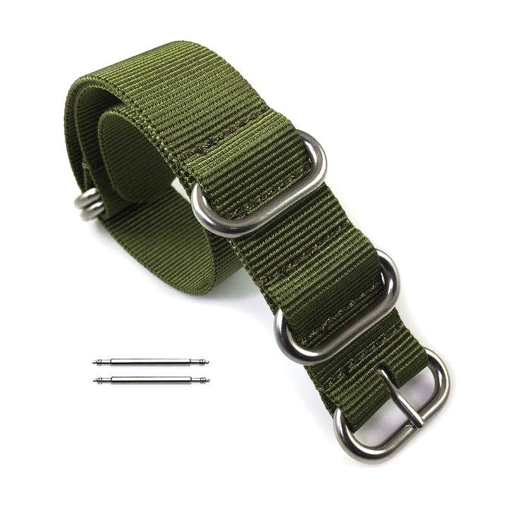 5 Ring Ballistic Army Green Nylon Fabric Replacement 20mm Watch Band Strap #3015