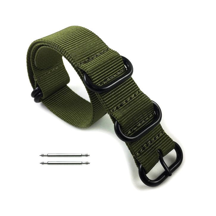 5 Ring Ballistic Army Green Nylon Replacement 20mm Watch Band Strap PVD #3016