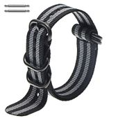 5 Ring Ballistic Army Military Black & Grey Stripes Nylon Watch Band #3030