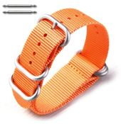 5 Ring Ballistic Army Military Orange Nylon Fabric Replacement Watch Band #3025