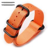 5 Ring Ballistic Army Military Orange Nylon Fabric Replacement Watch Band #3026