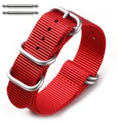 5 Ring Ballistic Army Military Red Nylon Fabric Replacement Watch Band #3027