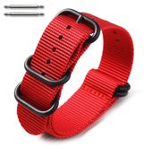 5 Ring Ballistic Army Military Red Nylon Fabric Replacement Watch Band #3028