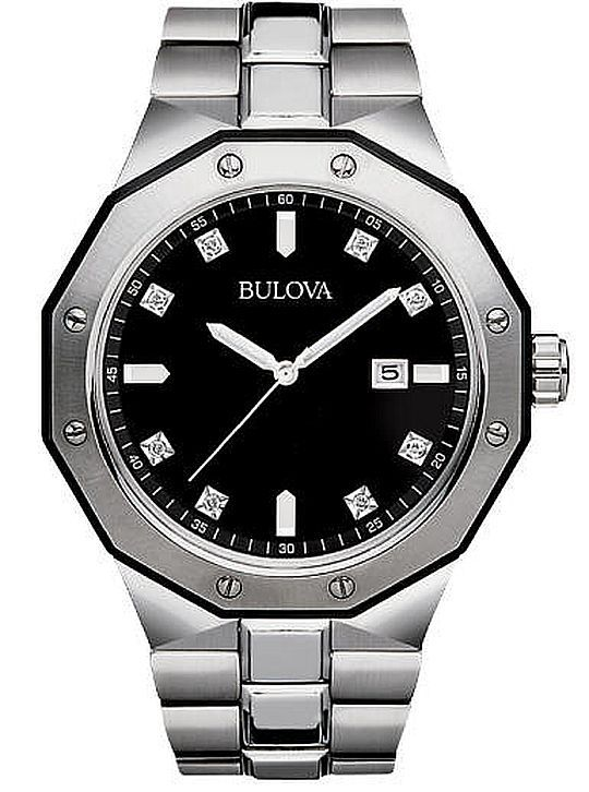 Men's Bulova Classic Diamond Dial Steel Dressy Watch 98D103
