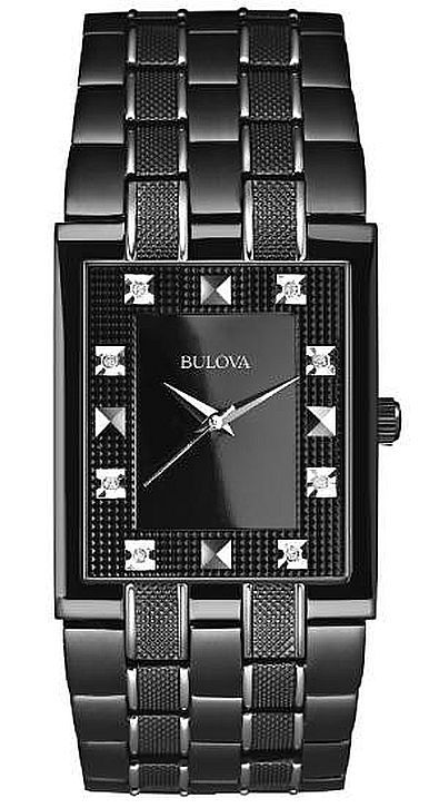 Men's Bulova Classic Black Diamond Dial Dress Watch 98D111
