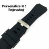 Relic Compatible Black Rubber Silicone Replacement Watch Band Strap Quick Release Pins #4041