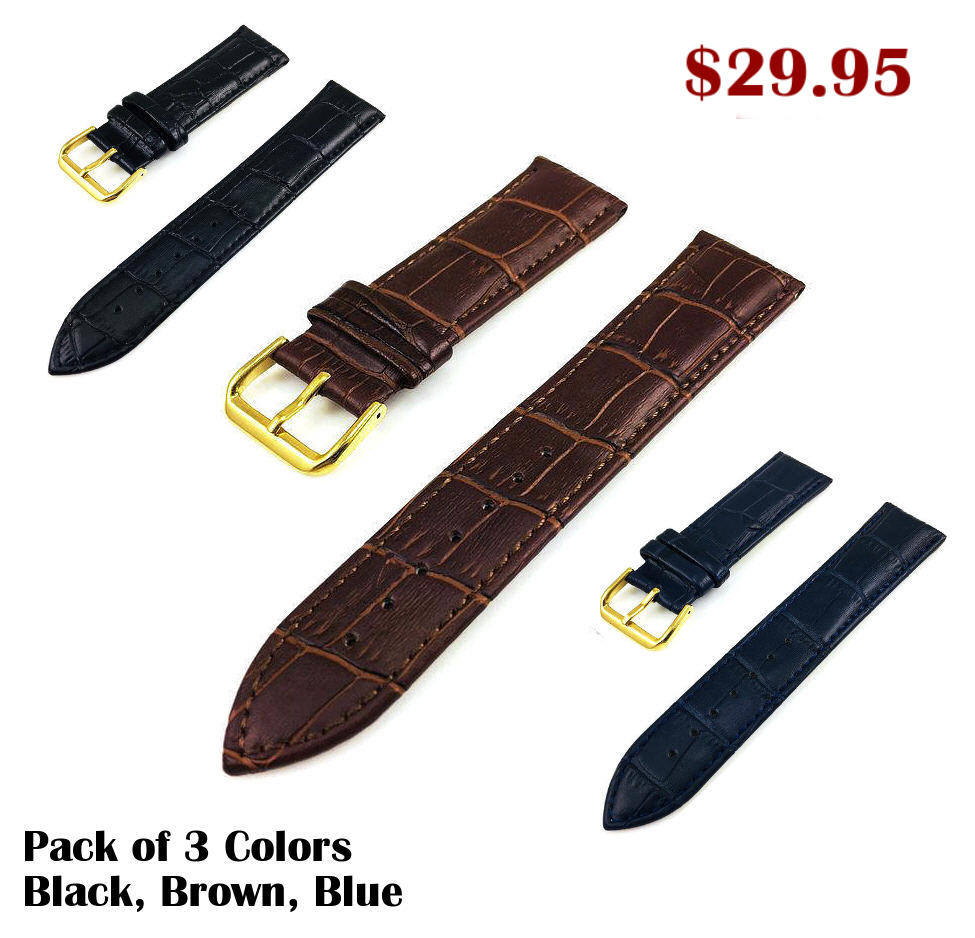 Blue Croco Leather Replacement 18mm Watch Band Strap Gold Steel Buckle #1083