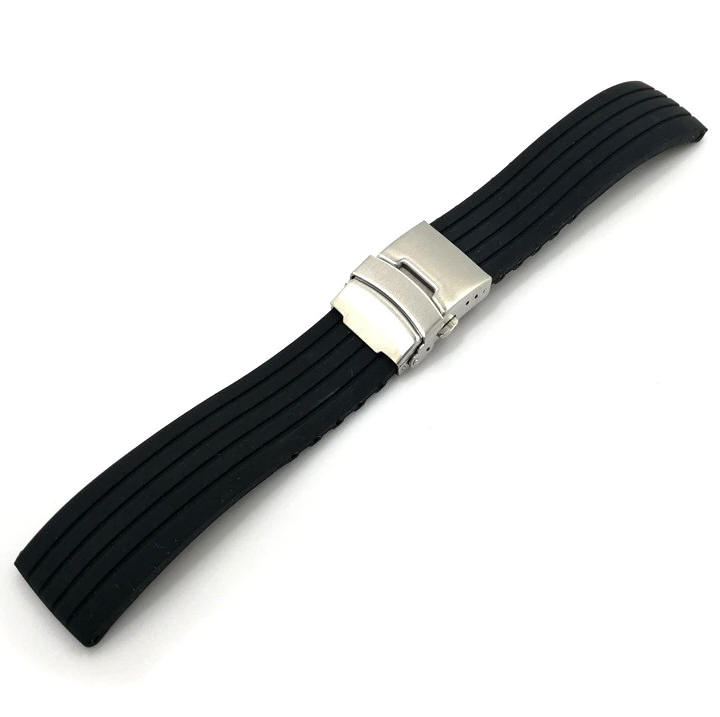 Timex Compatible Black Rubber Silicone Replacement Watch Band Strap Double Locking Steel Buckle #4011