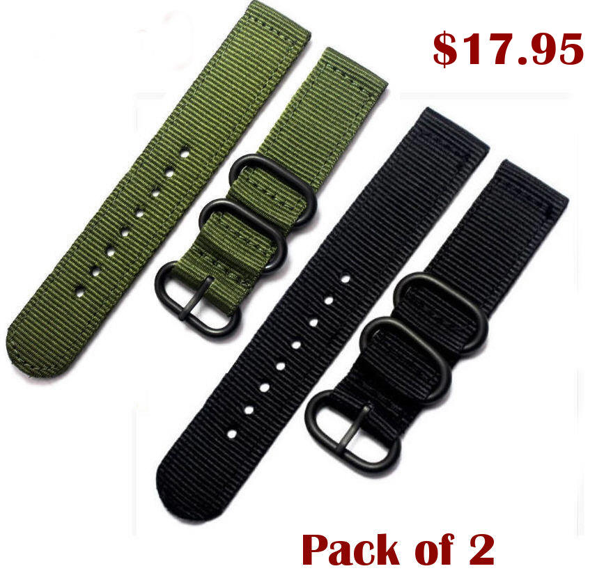 Green Nylon 20mm Watch Band Strap Army Military Ballistic Black Buckle #6034