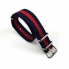 Red and Navy Stripes One Piece Slip Through Nylon Watch Band Strap SS Buckle #6007