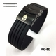 Coach Compatible Black Rubber Silicone Replacement Watch Band Strap PVD Double Lock Steel Buckle #4012