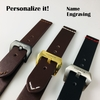 Black Genuine Leather Replacement Watch Band Strap Metal Steel Buckle Brown Stitchimh #1010