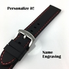 Armitron Compatible Black Rubber Silicone PU Replacement Watch Band Strap Steel Buckle Red Stitching #4008