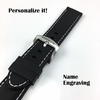 Armitron Compatible Black Rubber Silicone PU Replacement Watch Band Strap Steel Buckle White Stitching #4003