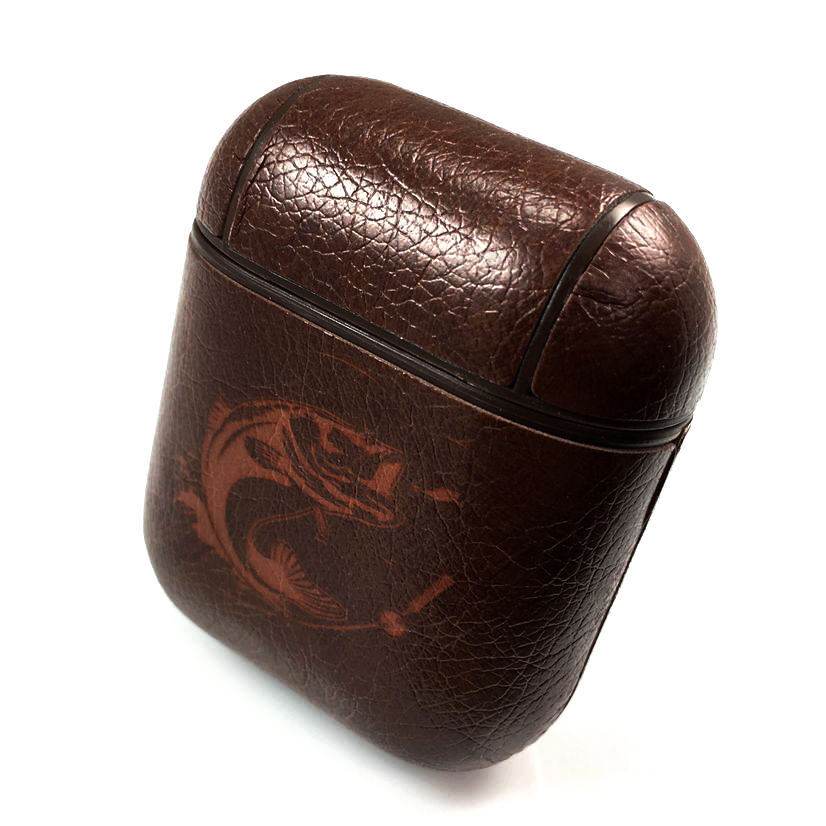 Apple Airpods 1 2 Pro Charging Case Leather Cover Bass Fishing