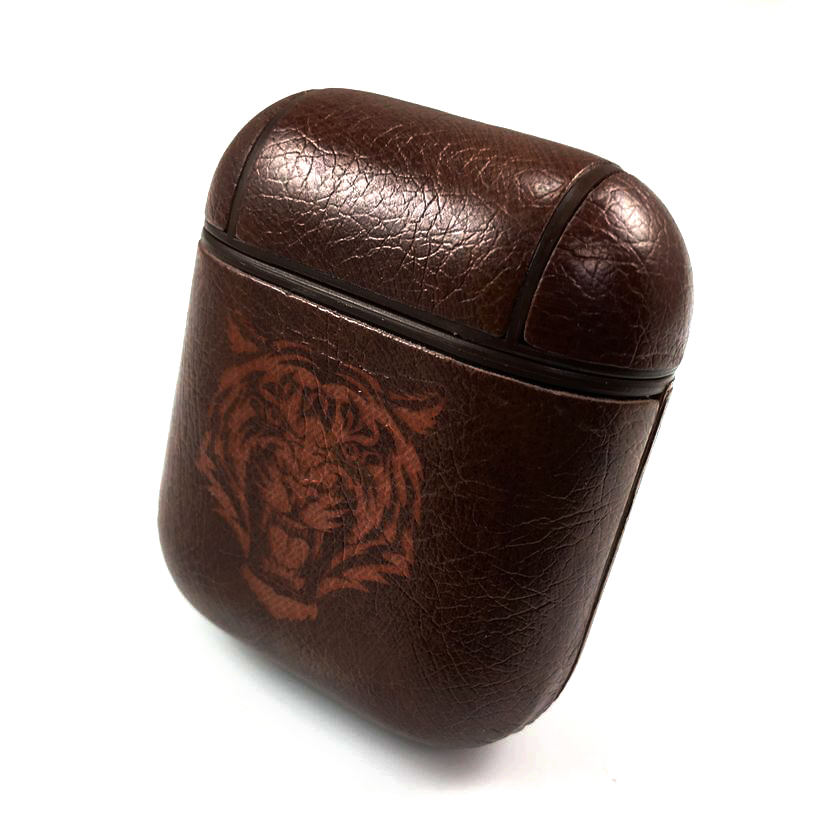 Apple AirPods 1 2 Pro Charging Case Leather Cover With Tiger Face Logo #0084