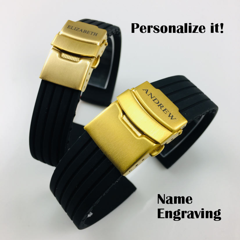 Lacoste Compatible Black Rubber Silicone Replacement Watch Band Strap Gold Double Lock Buckle #4011G