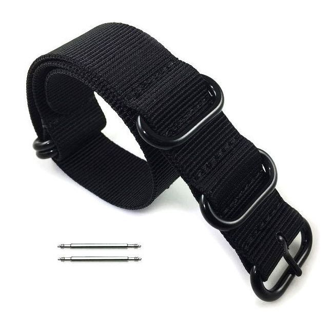 Armitron Compatible 5 Ring Ballistic Army Military Black Nylon Replacement Watch Band Strap PVD #3014