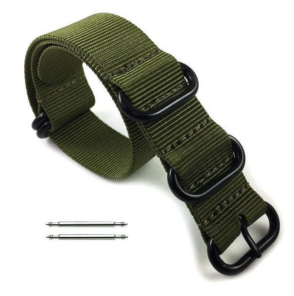 Armitron Compatible 5 Ring Ballistic Army Military Green Nylon Replacement Watch Band Strap PVD #3016