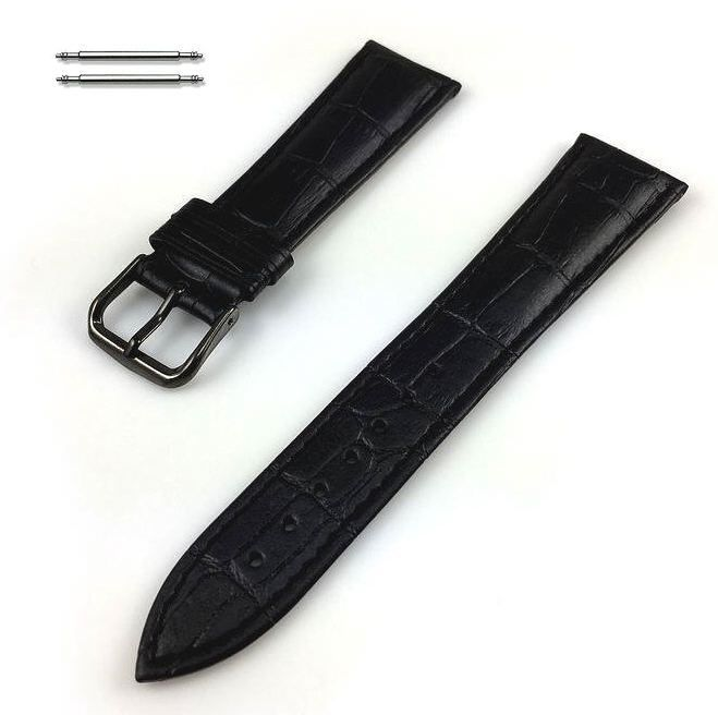 Armitron Compatible Black Croco Genuine Leather Replacement Watch Band Strap PVD Steel Buckle #1051