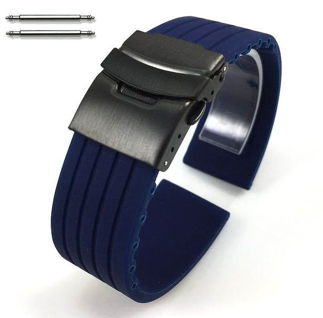 Armitron Compatible Blue Rubber Silicone Watch Band Strap Double Locking Black PVD Steel Buckle #4016