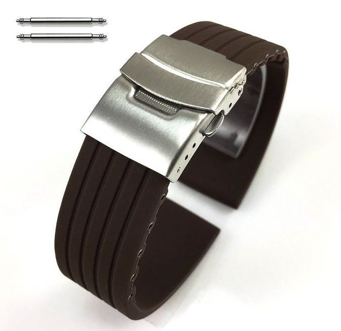 Armitron Compatible Brown Rubber Silicone Watch Band Strap Double Locking Steel Buckle Clasp #4017