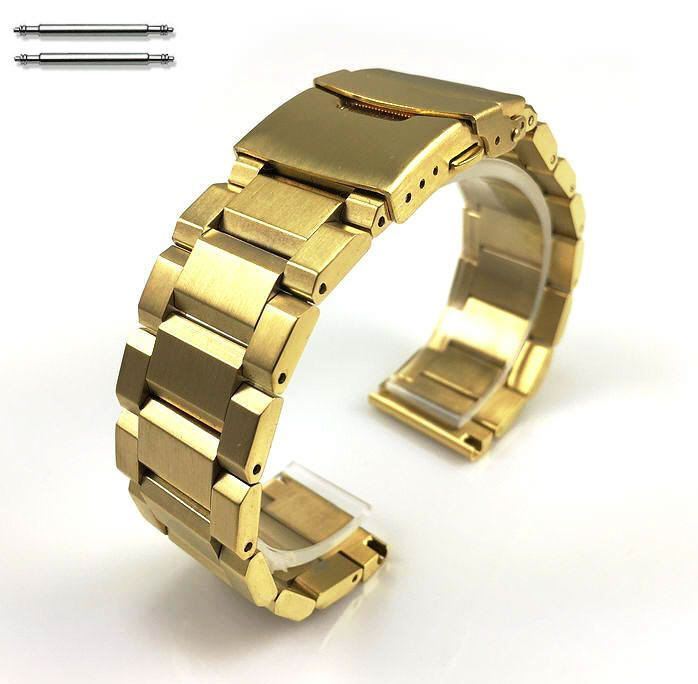 Armitron Compatible Gold Stainless Steel Metal Bracelet Watch Band Strap Double Locking Clasp #5000G