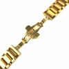 Gold Tone Brushed Steel Replacement Watch Band Push Butterfly Clasp #5093