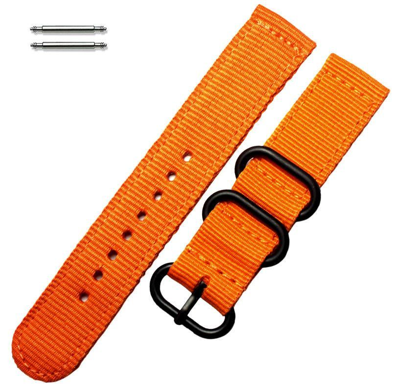 Armitron Compatible Orange Nylon Watch Band Strap Belt Army Military Ballistic Black Buckle #6038
