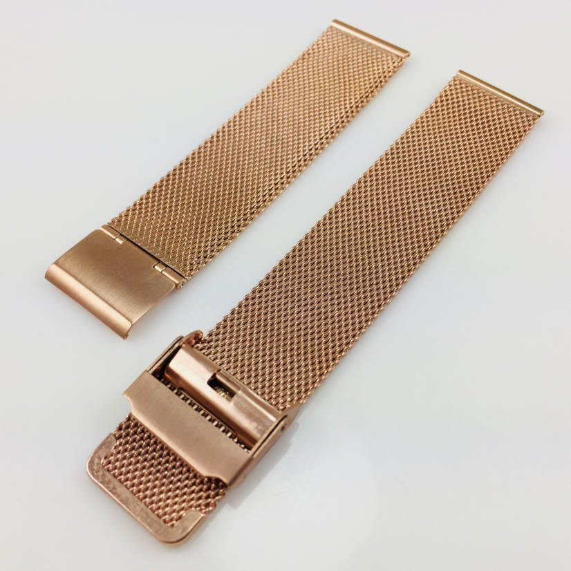 Pebble Time Classic Round Rose Gold Steel Metal Adjustable Mesh Bracelet Watch Band Strap Double Locking #5028