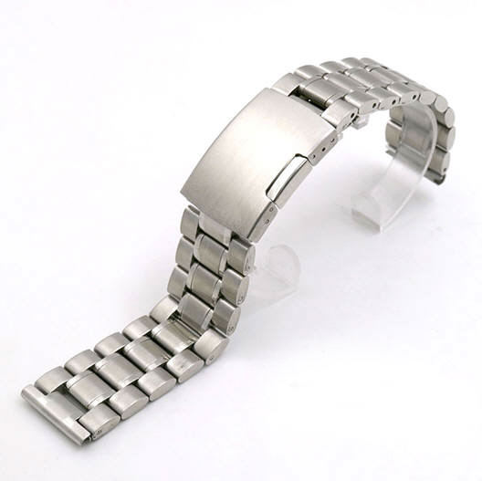 Stainless Steel Metal Bracelet Replacement 20mm Watch Band Button Clasp #5015