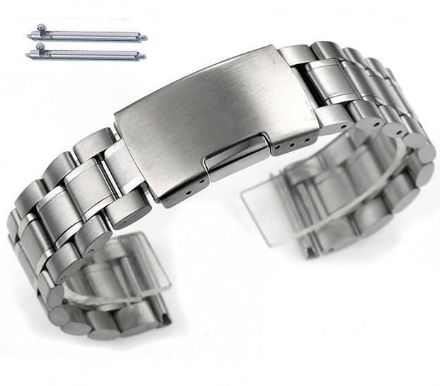 Armitron Compatible Stainless Steel Metal Bracelet Replacement Watch Band Strap Push Button Clasp #5015