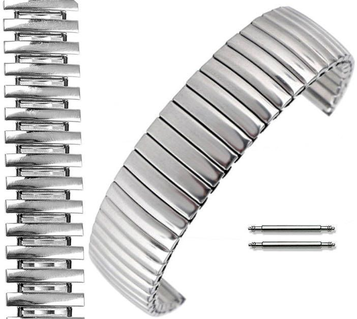Armitron Compatible Stainless Steel Metal Elastic Stretch Expansion Replacement Watch Band Strap #5061