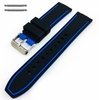 Armitron Compatible Black & Blue Double Side Rubber Silicone Replacement Watch Band Strap Belt #4062