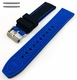 Black & Blue Double Side Silicone Replacement 20mm Watch Band Strap Belt #4062