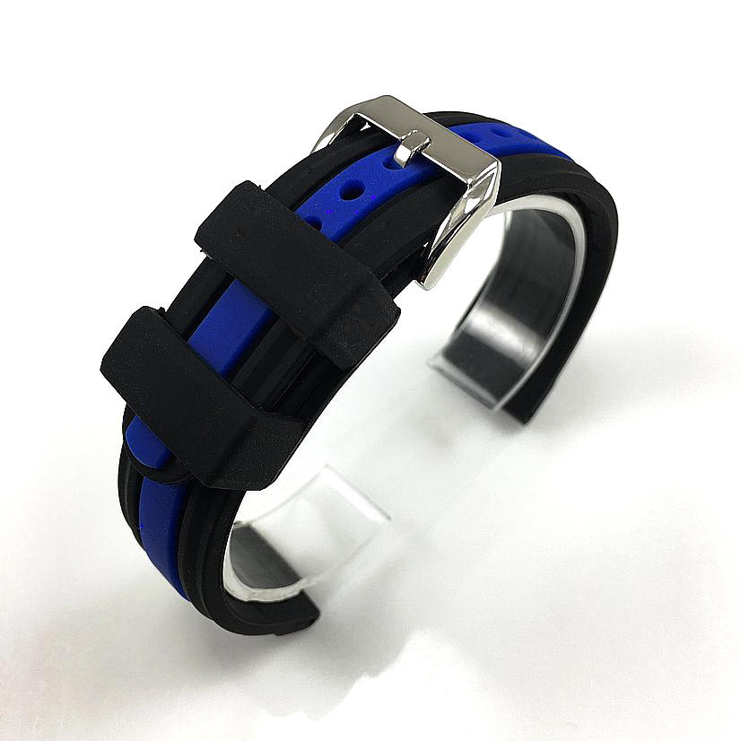 Black & Blue Racing Style Silicone Replacement Watch Band Strap #4422