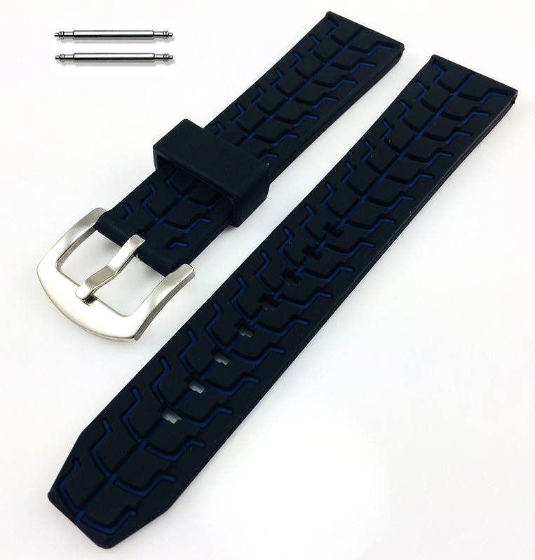Black & Blue Sports Tire Track Silicone Replacement 20mm Watch Band Strap #4069