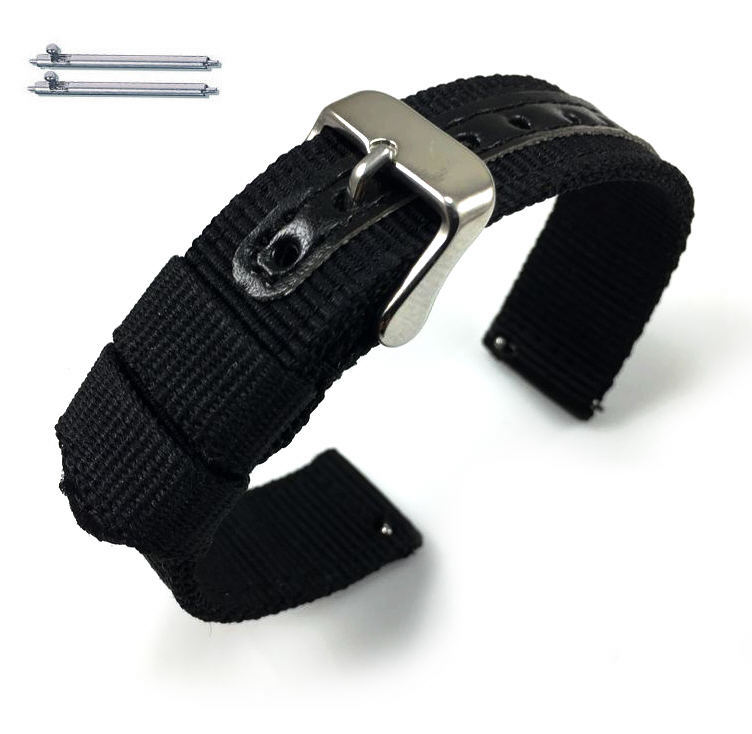 Black Canvas Nylon Fabric Watch Band Strap Army Military Style Steel Buckle #3051