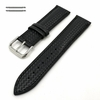 Black Carbon Fiber Style Leather Replacement Watch Band Strap #1501