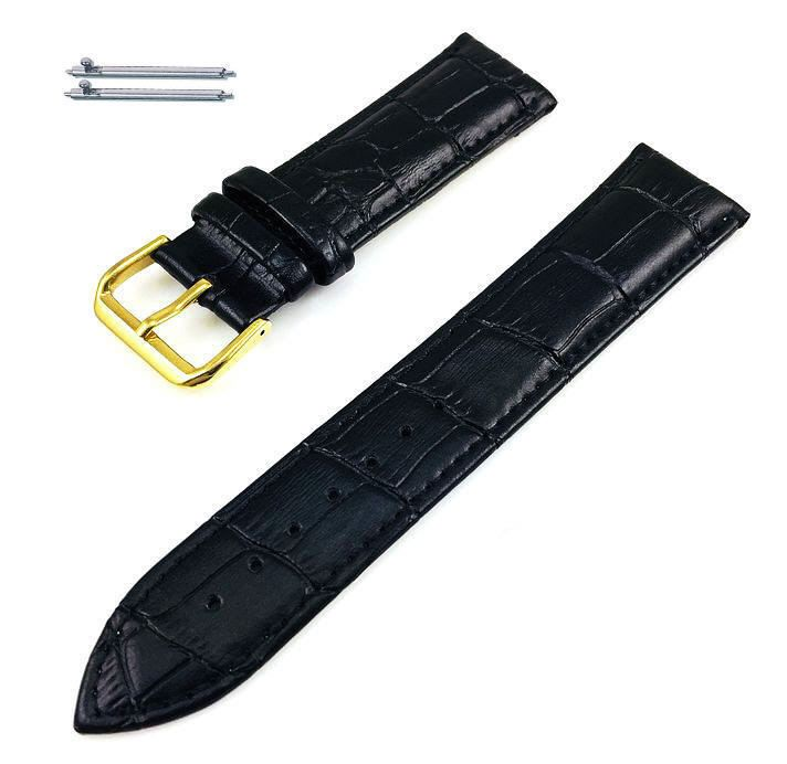 Black Croco Genuine Leather Replacement Watch Band Strap Gold Steel Buckle #1081