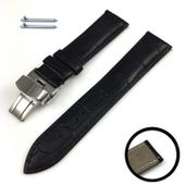 Black Croco Genuine Leather Replacement Watch Band Strap Steel Butterfly Buckle #1031