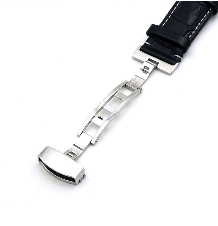 Pebble Time Classic Round Black Croco Leather Watch Band Strap Steel Butterfly Buckle White Stitching #1034