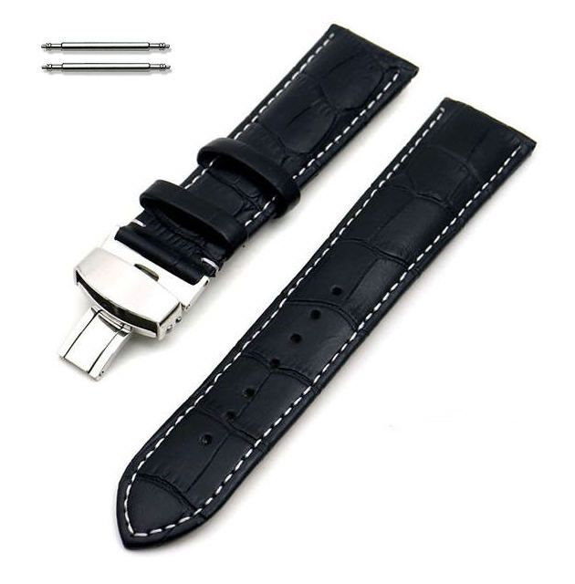 Black Croco Leather 20mm Watch Band Strap Butterfly Buckle White Stitching #1034