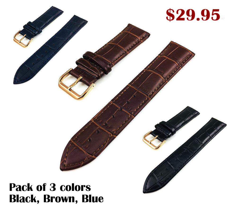 Black Croco Leather Replacement Watch Band Strap Rose Gold Steel Buckle #1071
