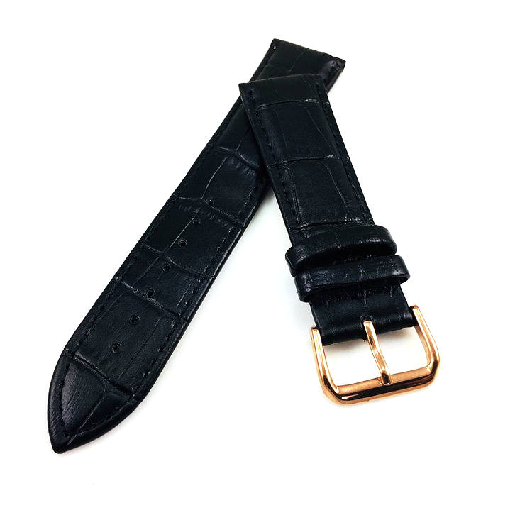 Longines Compatible Black Croco Leather Replacement Watch Band Strap Rose Gold Steel Buckle #1071