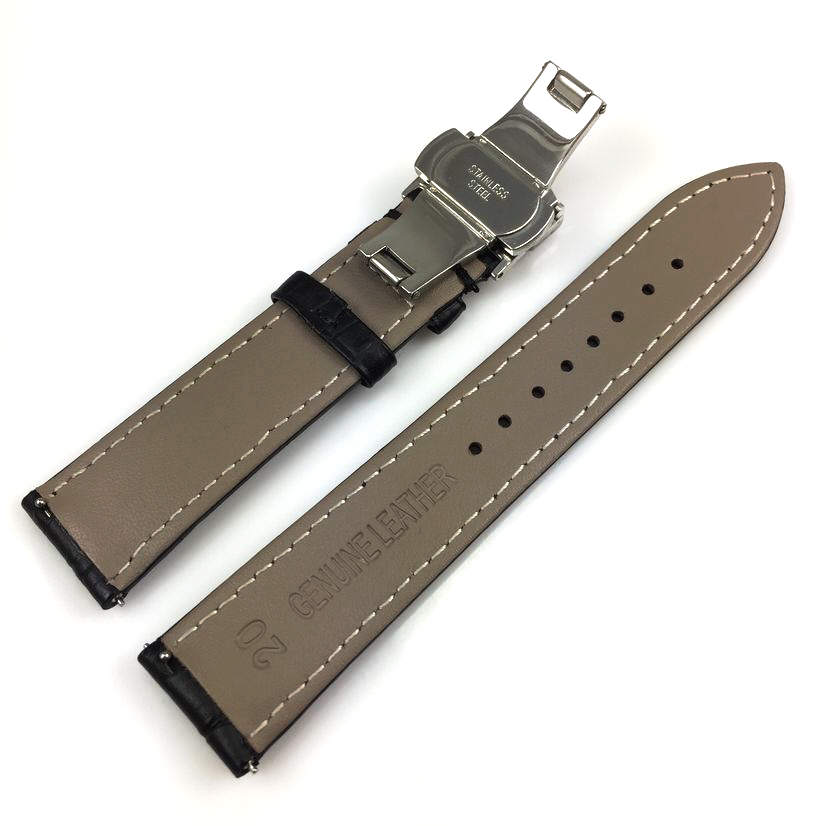 Black Croco Leather Replacement 20mm Watch Band Strap Butterfly Buckle #1031