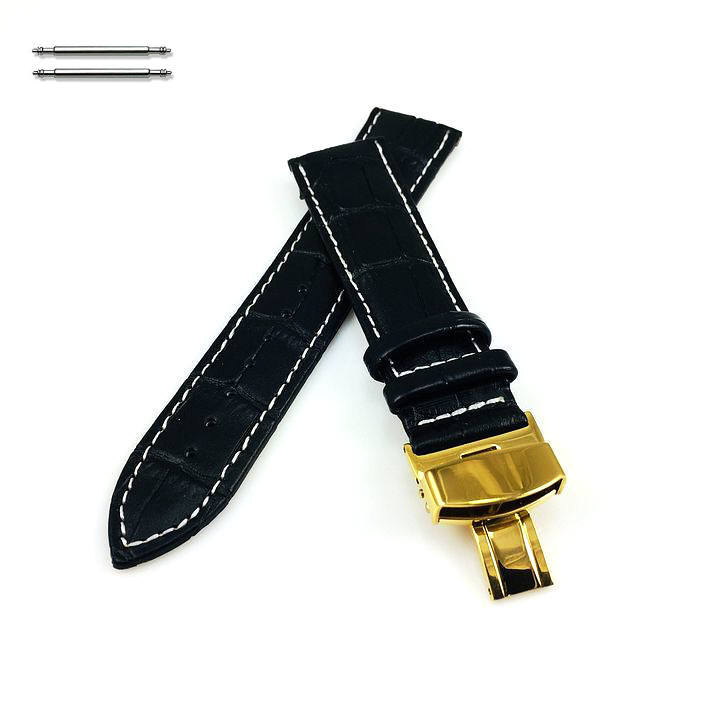 Lacoste Compatible Black Croco Leather Watch Band Strap Belt Gold Butterfly Buckle White Stitching #1037