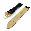 Black Croco Leather Watch Band Strap Rose Gold Butterfly Buckle White Stitching #1036