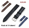 Dark Blue Croco Genuine Leather Replacement Watch Band Strap Steel Buckle #1043