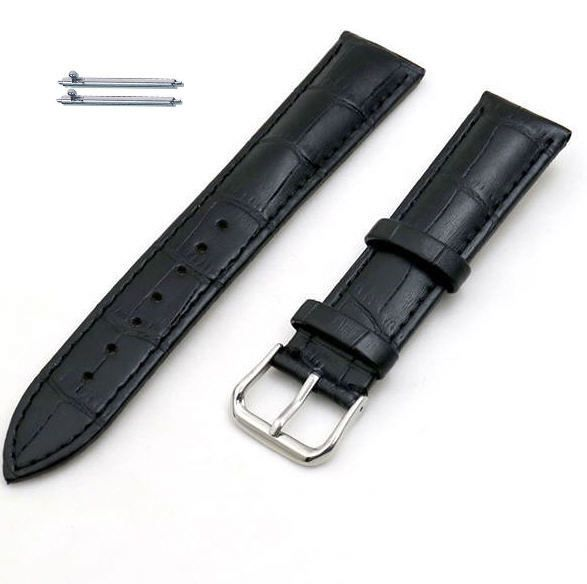 Black Elegant Croco Genuine Leather Replacement Watch Band Strap Steel Buckle #1041
